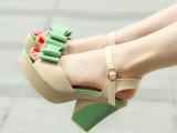 2014新款坡跟女凉鞋夏季甜美蝴蝶结厚底松糕粗高跟鱼嘴女鞋子批发