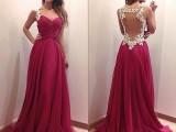 2015新款速卖通爆款欧洲站深V领长裙蕾丝连衣裙红色礼服