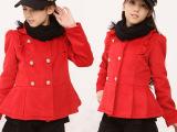 大红色大衣双排扣呢子大衣 中大童外套 分美品众专注童装一件代发