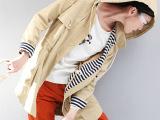 初语2014秋季新款 品牌风衣欧韩版经典海魂拼接风衣外套