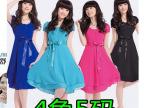 2014夏季新款韩版 淑女夏装 新品时尚女装 短袖雪纺连衣裙