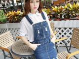 2015新款韩版吊带牛仔短裙显瘦磨破背带半身裙女潮