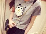 夏季新款女装 韩版大码猫头鹰绣花卡通纯棉短袖T恤 女