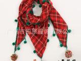 1号花园 冬季三角围巾厂家批发磨毛苏格兰格绿色毛线球围巾w092