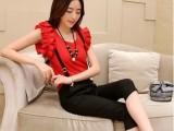 2014夏季无袖韩版荷叶袖雪纺衫+背带七分裤潮女2件休闲套装