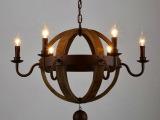 北欧宜家美式乡村复古工业风实木头吊灯客厅餐厅酒店工程大吊灯