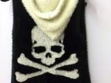 女装 秋冬装  韩版 短款  骷髅头连帽马甲外套 开衫 外贸单