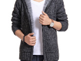 秋冬潮流韩版 毛衣 开衫 外套 男士加厚连帽长毛针织衫男装毛线衣