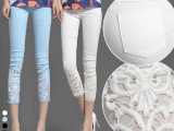 蕾丝钩花镶钻薄夏白色外穿九分小脚裤打底八分七分裤