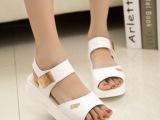 厂家直销 新款夏季坡跟休闲学生凉鞋 防滑松糕跟泡沫厚底女鞋