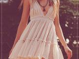 夏季FP明星同款吊带裙 挂脖露背系带度假蕾丝拼接沙滩连衣裙 现货