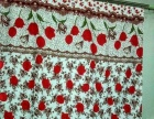 转让全新带玫瑰花图案的纯布艺窗帘一套,质量好