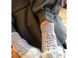 冬季韩版仿兔毛毛手套 半指手套麻花露指手