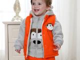 婴儿童装棉衣三件套0-3岁男童女童加厚加绒卫衣 宝宝秋冬装外套装