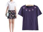 2014夏装新款欧家潮手工穿珠立体小天鹅纯棉圆领短袖T恤 打底衫女