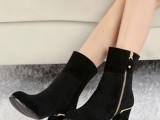 2014新品真皮女鞋 韩版明星同款粗跟马丁女靴品牌爆款鞋一件代发