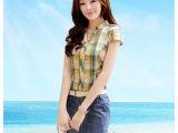 2014新款夏季韩版女装V领修身包臀牛仔短裙拼接短袖连衣裙 夏季