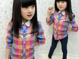 2014春夏装童装-韩版女童蕾丝立领多色格子长袖衬衣衬衫厂家直销