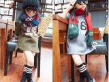 2014女童秋装新款 76数字 字母内抓绒圆领套头卫衣