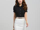 夏季新款蕾丝镂空韩版修身大码显瘦女式衬衫淘宝代理短袖衬衣
