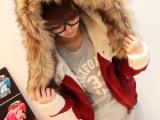 2014冬款女装系带厚实连帽仿毛领羊羔毛大衣外套棉衣