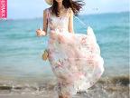 品牌连衣裙夏季 背心沙滩长裙波西米亚 不规则真丝连衣裙长裙夏