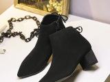 短靴女真皮新款时尚欧美马丁靴尖头粗跟短靴