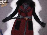 2013新款女式外套 高端定制羊毛呢pu皮拼接针织袖毛领大衣风衣