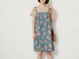 303-0130日系森女系原创新品连衣裙两面穿印花宽松大码牛仔背