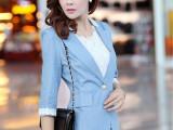厂家直销2014初秋新款韩版超薄棉麻修身短七分袖小西装一件代发
