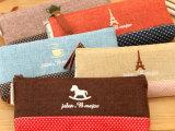 新款推荐 时尚简约笔袋 棉麻时光文具袋 zakka可爱创意笔袋