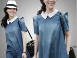 爆款2013夏季新款韩版孕妇装 加大码胖MM可穿娃娃领牛仔棉孕妇