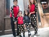 2015亲子装秋装新款多虎头套装母子装母女装一家三口全家装