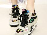 2014春秋新款女鞋真皮系带内增高运动鞋韩版迷彩潮单鞋欧洲站批发