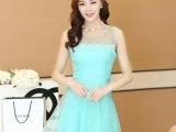 2014夏季新款  韩版潮仙女公主裙无袖修身欧根纱拼接雪纺连衣裙