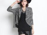 莎妃语2015春装新款韩版时尚不规则花色蝙蝠袖针织开衫外套女