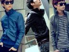 韩版秋冬修身加绒立领夹克外套 男 男士夹克加厚加绒保证100%正品