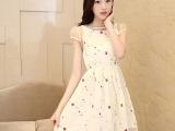 2014年日系夏装蕾丝短袖连衣裙 修身刺绣泡泡袖收腰显瘦蕾丝裙