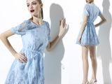 维米多2015新款欧美连衣裙 浅蓝色刺绣纯棉镂空中长款连衣裙女装