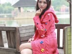 2014韩版粗棒针手钩花朵彩球长款毛衣外套 推荐 4色 西瓜红