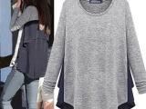 欧洲站2014秋冬装新款大码女装潮长款宽松上衣服长袖T恤女款