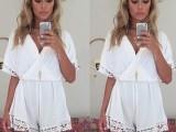 ebay速卖通爆款 欧美新款白色雪纺V领蕾丝边性感连体短裤 现货