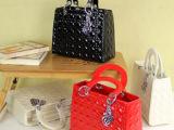 2014新款潮女包漆皮菱格纹红色新娘包戴妃包女士包手提包结婚包包