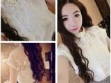 2014夏季新款 韩国森女气质甜美蕾丝拼接棉布无袖衬衫1139