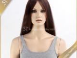 中国发真人假发生产厂家 长直发深棕色蕾丝头套女