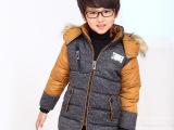 2014冬装新款男童棉衣外套 韩版中大儿童高档纯棉加厚大男童外套