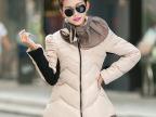 2014冬季新款韩版羽绒棉服中长款女时尚修身甜美公主荷叶加厚棉衣