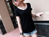 2014夏装新款韩版女装 初夏V领长款女打底衫 口袋宽松短袖女t
