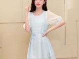 2014夏季新款韩版女装A字裙 雪纺蕾丝拼接修身显瘦短袖连衣裙