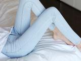 欧洲站女装牛仔裤 女式一件代发浅色牛仔裤女修身显瘦铅笔小脚裤